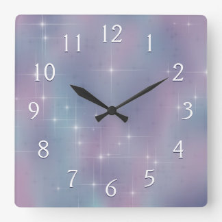 Starry Mauve and Teal Square Wall Clock