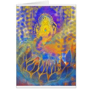 Starry mermaid with blue lotus card