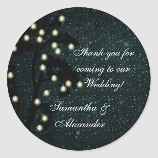 Starry Midnight Lights Wedding Thank You/Favor Classic Round Sticker