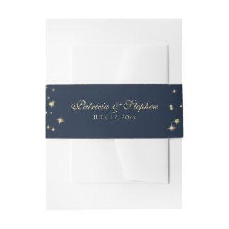 Starry Midnight Sky Navy Blue Wedding Invitation Belly Band