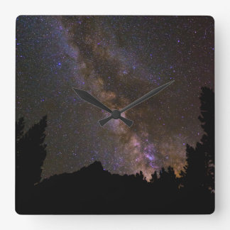 Starry Milky way, California Square Wall Clock