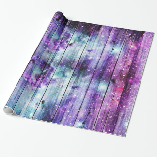 Starry Nebula Wood Design Wrapping Paper