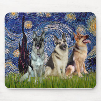 Starry Night - 3 German Shepherds Mouse Pad