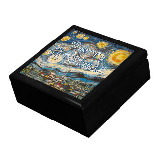 Starry Night after Vincent Van Gogh Christmas Jewelry Boxes