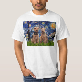 Starry Night - Airedale Terriers (two) T-Shirt