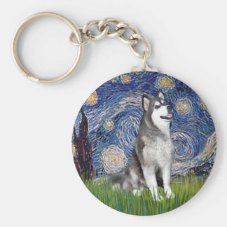 Starry Night - Alaskan Malamute Basic Round Button Keychain