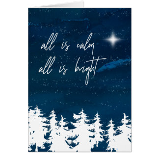 Starry Night All Is Calm All Is Bright Christmas Card