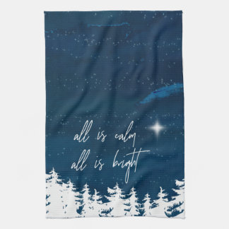 Starry Night All Is Calm All Is Bright Christmas Kitchen Towel