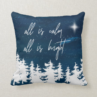 Starry Night All Is Calm All Is Bright Christmas Throw Pillow