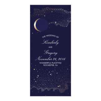 Starry Night and Gold Moon Navy Wedding Programs