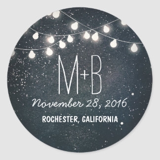 Starry Night and String Lights Wedding Classic Round Sticker