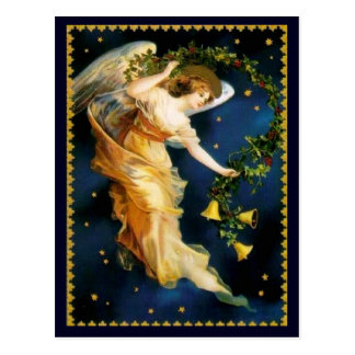 Starry Night Angel Christmas Postcard