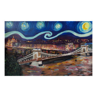 Starry Night at Budapest Poster