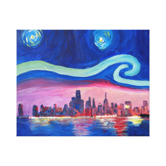 Starry night at Chicago - Van Gogh inspirations Canvas Print
