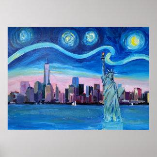 Starry Night at New York Manhattan Poster