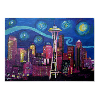 Starry Night at Seattle Poster