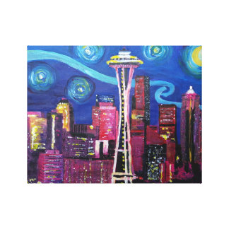 Starry night at Seattle - Van Gogh inspirations Canvas Print