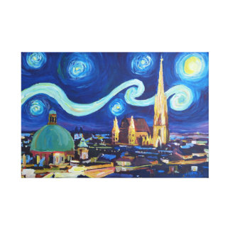Starry night at Vienna Austria Canvas Print