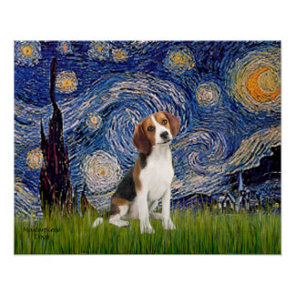 Starry Night - Beagle #1 Poster
