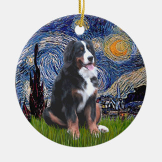 Starry Night - Bernese Mountain Dog (L) Round Ceramic Ornament