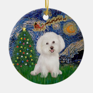 Starry Night - Bichon Frise #7 Round Ceramic Ornament