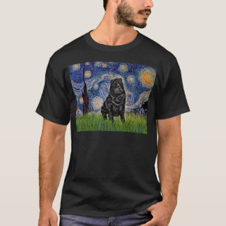 Starry Night - Black Chinese Shar Pei T-Shirt