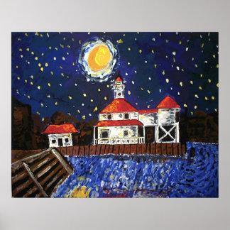 Starry Night Black Lighthouse Poster