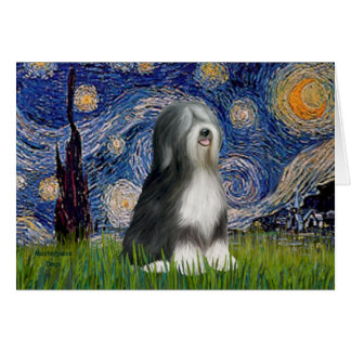 Starry Night - Black & White Tibetan Terrier Card