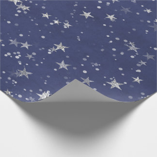Starry Night Blue Navy Gray Silver Confetti Wrapping Paper