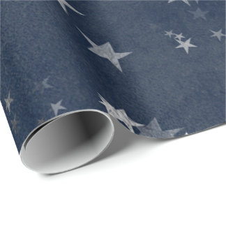 Starry Night Blue Navy Stars Gray Silver Confetti Wrapping Paper