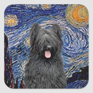 Starry Night - Briard (black) Square Sticker
