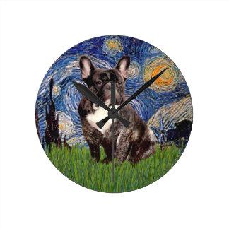 Starry Night - Brindle French Bulldog Clock