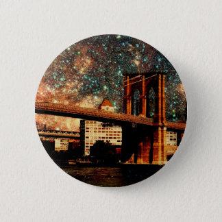 Starry Night Brooklyn Bridge 2 Inch Round Button