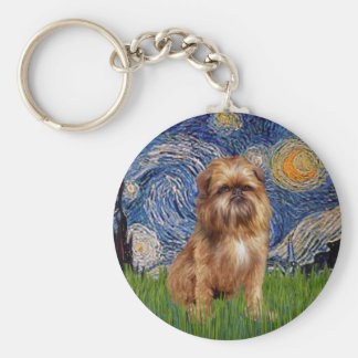Starry Night - Brown Brussels Griffon Keychain