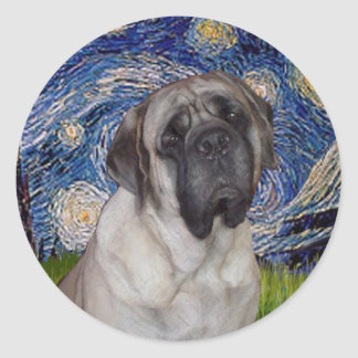 Starry Night - Bull Mastiff Portrait Classic Round Sticker