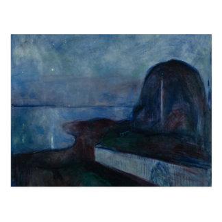 Starry night by Edvard MUNCH,symbolist painter Postcard