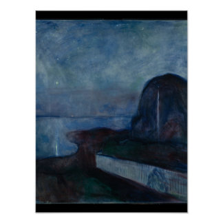 Starry night by Edvard Munch symbolist painter Poster