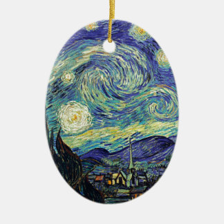 Starry Night by van Gogh Ceramic Oval Ornament