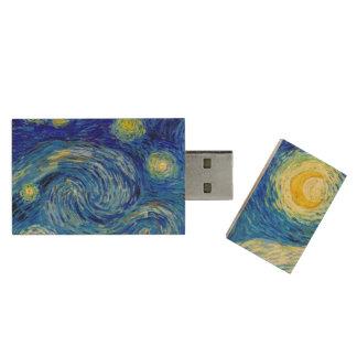 Starry Night by Van Gogh Fine Art Wood USB Flash Drive