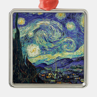 Starry Night by van Gogh Silver-Colored Square Ornament