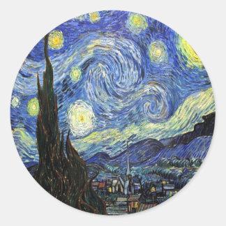 Starry Night By Vincent Van Gogh 1889 Round Sticker