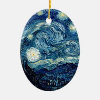 Starry Night By Vincent Van Gogh Ceramic Oval Ornament