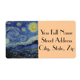 Starry Night by Vincent van Gogh Custom Shipping Labels