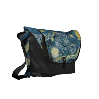Starry Night by Vincent van Gogh Messenger Bags