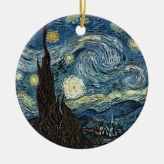 Starry Night by Vincent van Gogh Round Ceramic Ornament