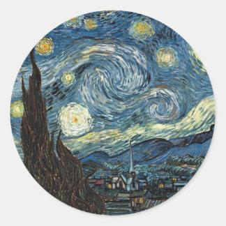 Starry Night by Vincent Van Gogh Round Sticker