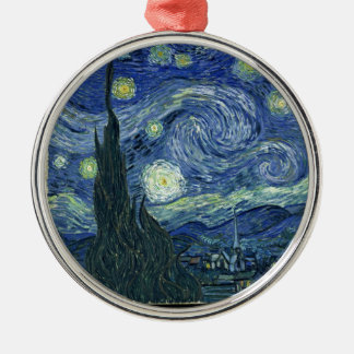 Starry night by Vincent Van Gogh Silver-Colored Round Ornament