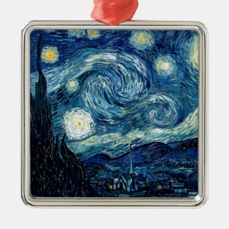 Starry Night By Vincent Van Gogh Silver-Colored Square Ornament