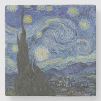 Starry Night by Vincent Van Gogh Stone Beverage Coaster