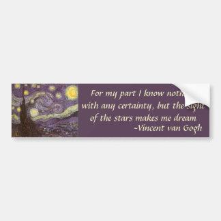 Starry Night by Vincent van Gogh, Vintage Fine Art Bumper Sticker